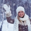 Woman waving in winter park — Stock Photo #18912225