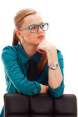 Seriously businesswoman over white — Stock Photo