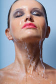 Woman with face under water — Stock Photo