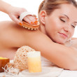 Woman receiving back massage — Stock Photo #19323841