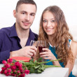 Young couple  drinking red wine — 图库照片