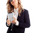 Happy businesswoman with tablet — Stock Photo #21556867