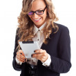 Happy businesswoman working with tablet — Stock Photo #21556921