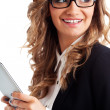 Happy businesswoman holding tablet — Stock Photo #21557025