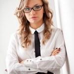 Closeup seriously businesswoman portrait — Stock Photo #21558063