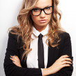 Closeup seriously businesswoman portrait — Stock Photo