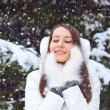 Beautiful brunette woman standing under snowfall — Stock fotografie