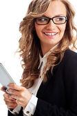 Happy businesswoman holding tablet — Stock Photo