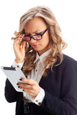 Thoughtful businesswoman working with tablet — Stock Photo
