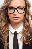 Closeup seriously businesswoman portrait — Stock Photo