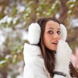 Stock Photo: Woman walking in winter park