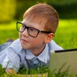 Royalty-Free Stock Photo: Boy laying on grass in the park with laptop