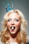 Woman wearing princess crown — Stock Photo