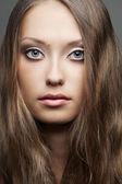 Closeup retrato de rostro de mujer — Foto de Stock