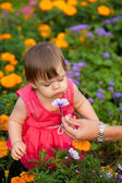 Mała dziewczynka kwiat zapachu — Zdjęcie stockowe