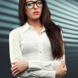 Businesswoman looking at camera — Stock Photo