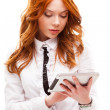 Red woman holding tablet — Foto Stock