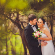 Bride and groom outdoors portrait — Foto Stock