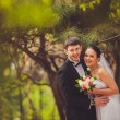 Bride and groom outdoors portrait — Photo