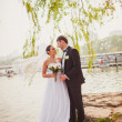 Bridal couple standing near lake — Stockfoto