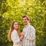 Happy couple walking at park — Stock Photo