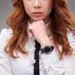 Red-haired businesswoman portrait over gray — Stock Photo