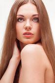 Beautiful closeup woman portrait over white — Stock Photo