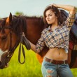 Woman posing with horse — Stock Photo