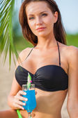 Woman wearing bikini closeup portrait — Stock Photo