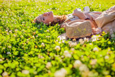 Woman lying on grass — Stock Photo