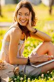 Closeup happy girl outdoors portrait — Stock Photo