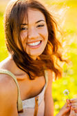 Closeup happy girl outdoors portrait — Stock Photo