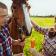 Young couple feeding horse — Stock Photo #31867761