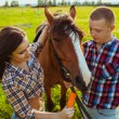Young couple feeding horse — Stock Photo #31867763