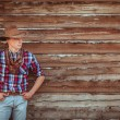 Cowboy style man on stable — Stock fotografie