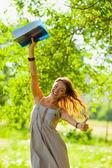 Student girl portrait holding blue folder — Stock Photo