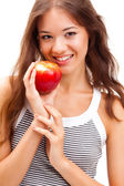 Closeup woman face portrait with apple — Stock Photo
