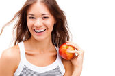 Closeup woman face portrait with apple — Stock Photo