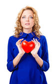 Woman holding heart — Stockfoto