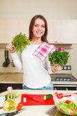 Kitchen woman making salad — Stock Photo