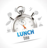 Stopwatch - lunch time — Stock Vector