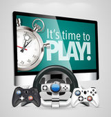 Game controllers and screen — Stock Vector