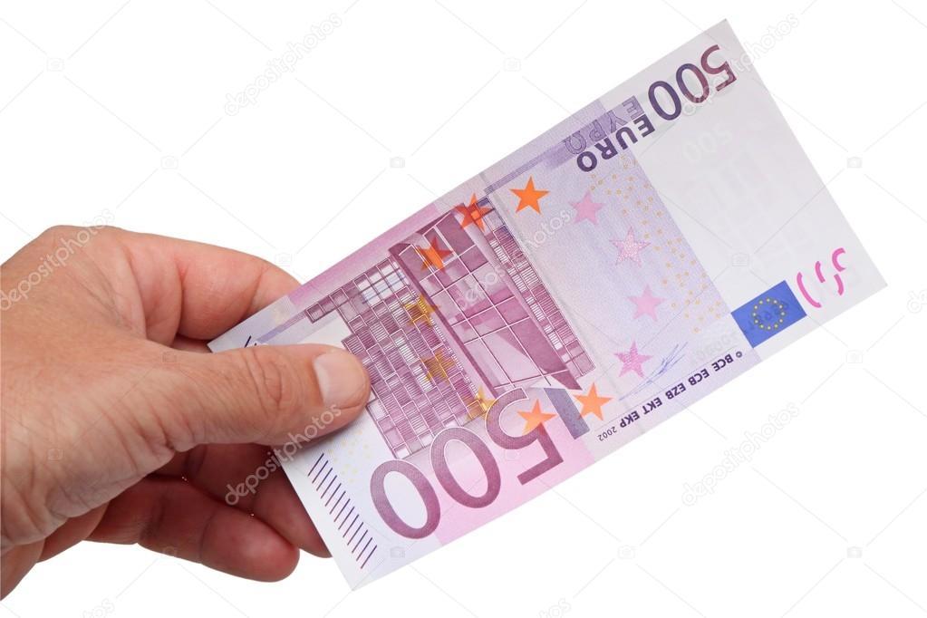 Billete de 500 euros en la mano foto de stock 17153947 for Schlafsofa 500 euro