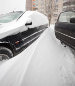 Cars covered with snow after last snowfall — Stock Photo
