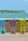 Colorful Bar Stools at an Outdoor Cafe — Stock Photo