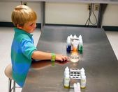 Six Year Old in a Chemistry Lab — Stock Photo