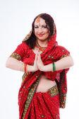 Europäische Mädchen in Red Indian saree — Stockfoto