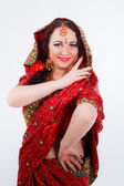 European girl in red indian saree — Stock Photo