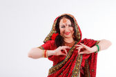 European girl in red indian saree — Stockfoto