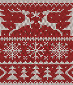 Christmas knitted pattern — Vector de stock